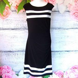 Ralph Lauren Black White Bodycon Ruched Dress 14